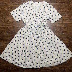 Vintage Button Up A-Line Polkadot Dress M